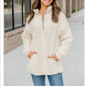 Snowy Daydreams Oatmeal Sherpa Zip Pullover